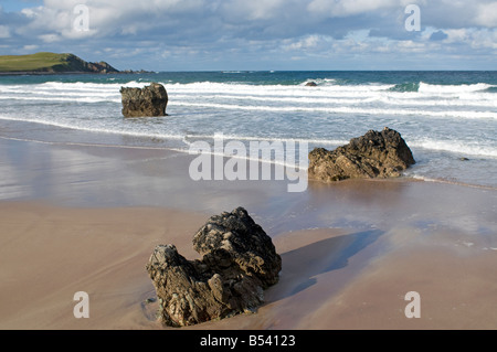 Incoming tide from the Pentland Firth at Sango Sands Durness Sutherland Scotland UK SCO 1016 - Stock Photo