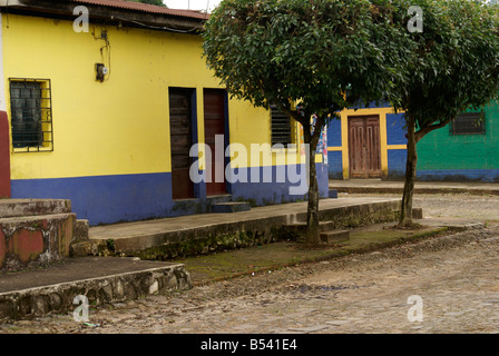 Spanish colonial houses in the village of Ataco in western El Salvador, Central America - Stock Photo