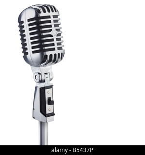 Classic retro microphone cutout isolated on white background - Stock Photo