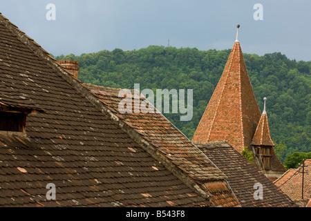 Saxon rooves in Sigishoara Transilvania Romania - Stock Photo