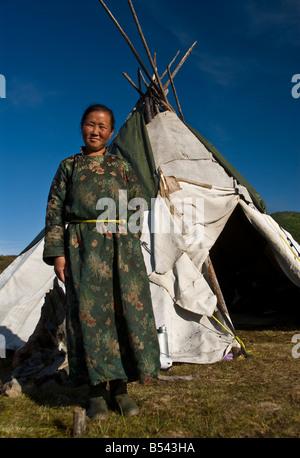 Tsaatan Woman outside the tepee Northern Mongolia - Stock Photo