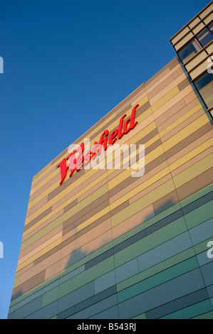Modern facade of newly built luxury Westfield Shopping Centre White City W12 London United Kingdom - Stock Photo