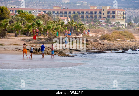 View over beach near Ayia Napa on the Mediterranean island of Cyprus EU with hotels in background - Stock Photo