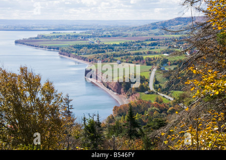 View of the Bay of Fundy at high tide from one of the look-offs at Blomidon Provincial Park, Nova Scotia, Canada. - Stock Photo