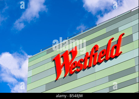 Modern facade of newly built Westfield Shopping Centre White City W12 London United Kingdom - Stock Photo