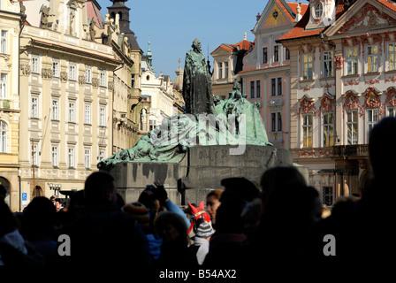 Jan Hus Monument Old Town UNESCO Prague Czech Republic - Stock Photo