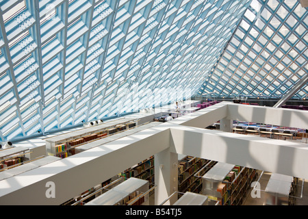 Interior of Seattle Public Library in downtown Seattle Washington - Stock Photo