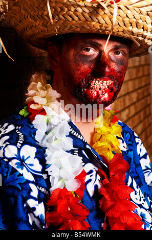 Portrait of man dressed as a zombie - Stock Photo