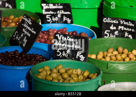 Olives - Market at Vic Fezensac - Southern France - Stock Photo