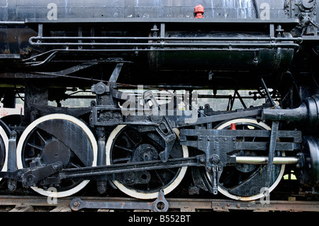 Close up of wheels of old steam locomotive on display in train museum, Northern California - Stock Photo
