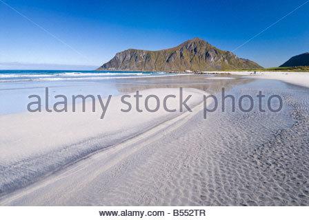 The beach at Flakstad, Lofoten Islands, Norway. - Stock Photo