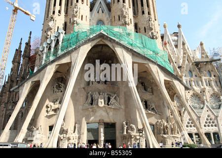 Sagrada Familia - Passion Facade (The Temple Expiatori de la Sagrada Família) [Barcelona, Catalonia, Spain, Europe]. - Stock Photo
