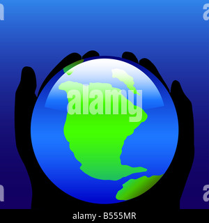 Environmental style illustration of world protected in silhouette hands - Stock Photo