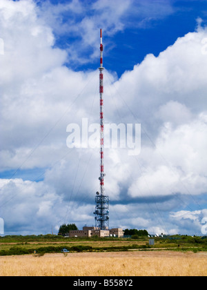 Large transmitter - communications tower structure and complex on a hilltop near Commana, Brittany, France - Stock Photo
