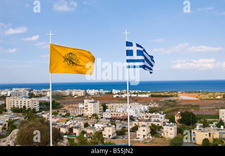 Greek flags flying over Protaras on the Eastern Mediterranean island of Cyprus EU - Stock Photo