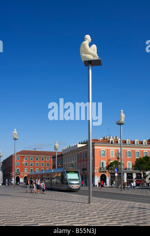 France French Reviera Nice Place Massena new tram sculptures - Stock Photo