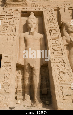 Colossal statues at the temple of Hathor and Nefertari, also known as the Small Temple in Abu Simbel rock temples. - Stock Photo