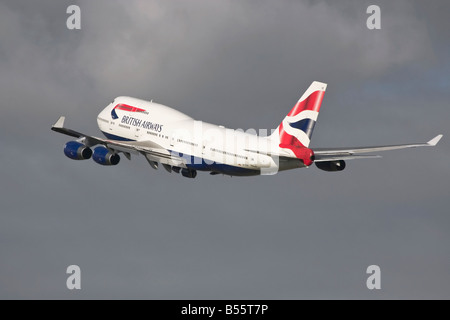 A Boeing 747 series 400 of British Airways on departure - Stock Photo