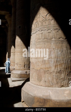 Carved columns with hieroglyphs writing at the hypostyle hall of the Ptolemaic temple of Edfu dedicated to the falcon - Stock Photo