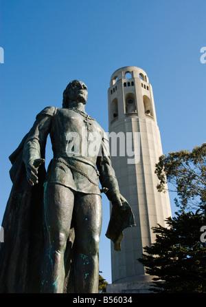 California San Francisco A sculpture of Christopher Columbus at Coit Tower Photo 19 casanf79180 Photo Lee Foster - Stock Photo