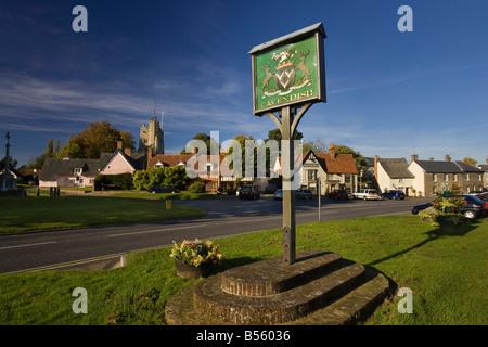 Cavendish village green sign, Suffolk, UK - Stock Photo
