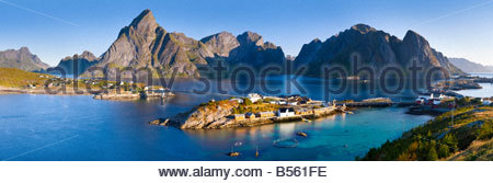 Lofoten Islands, Norway, with the island of Sakrisøy in the foreground. - Stock Photo