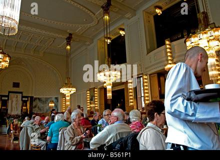 Art Nouveau Café in the Municipal House Obecni Dum Prague FOR EDITORIAL USE ONLY - Stock Photo
