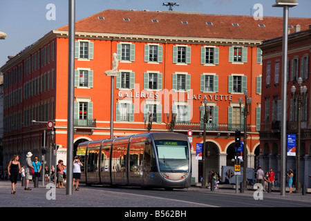 France French Reviera Nice Place Massena new tram Galeries Lafayette - Stock Photo