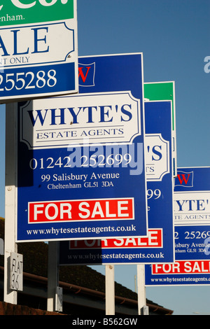 Property for sale signs in the UK - Stock Photo