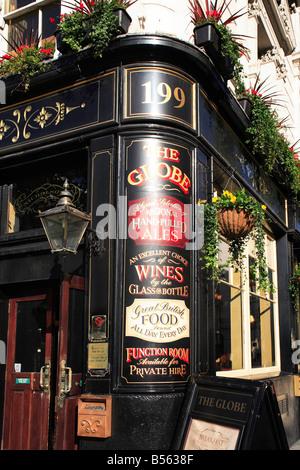 The Globe Pub on Moorgate Street corner of London Wall City of London England - Stock Photo