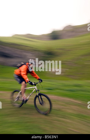 mountain biking Cavedale Castleton in the Peak District National Park Derbyshire UK England GB Great Britain - Stock Photo