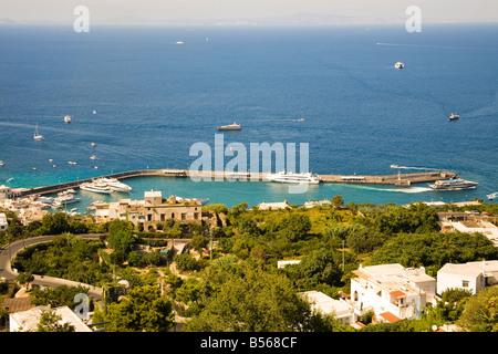 View looking towards Marina Grande, from viewing platform near Piazza Umberto area, Capri, Italy - Stock Photo