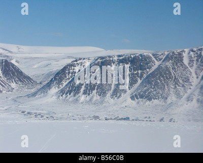 Aerial view of the Community of Grise Fiord in Ellesmere Island in Jones Sound Ellesmere Island Nunavut Canada Arctic - Stock Photo