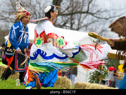 A Native American Fancy Dancer performs at the 1st annual Healing Horse Spirit PowWow in Mt Airy, Maryland, USA - Stock Photo