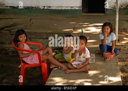 Nicaraguan children outside their house on Big Corn Island, Nicaragua, Central America - Stock Photo