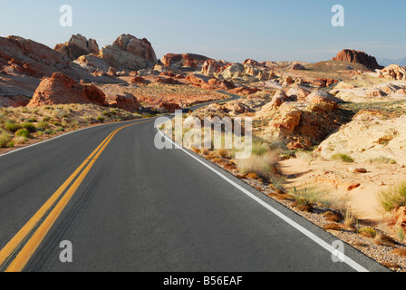 Winding road through Valley of Fire State Park in Nevada - Stock Photo