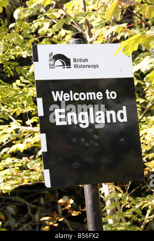 Welcome to England Sign on Llangollen Canal - Stock Photo