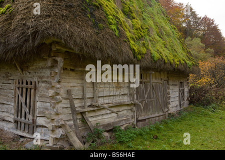 Traditional Old wooden thatched barn in the Galda valley Apuseni mountains autumn Romania - Stock Photo