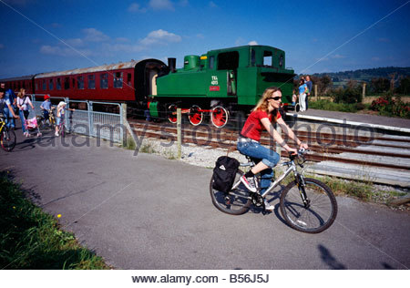 A cyclist on the Bristol to Bath railway cycle path, UK - Stock Photo