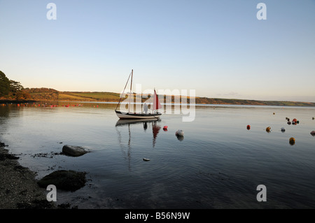Sailing boat at Loe Beach, Feock, Cornwall, England - Stock Photo