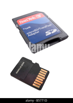 Micro SD memory card and its adapter - Stock Photo