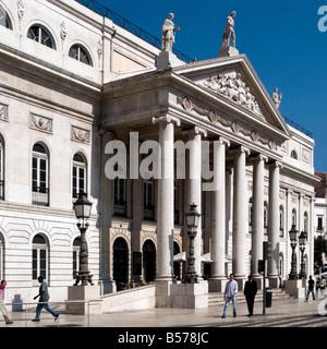 Teatro Nacional Dona Maria II, Rossio (praca Dom Pedro IV), Lisbon, Portugal - Stock Photo