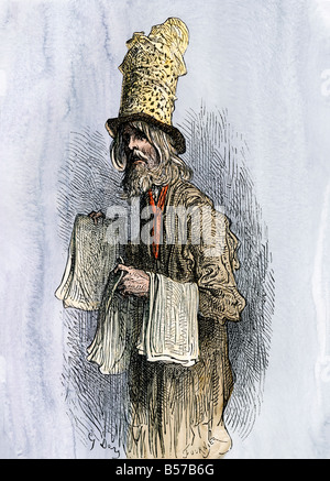 Peddler on a street in London 1800s. Hand-colored woodcut of a Gustave Dore illustration - Stock Photo