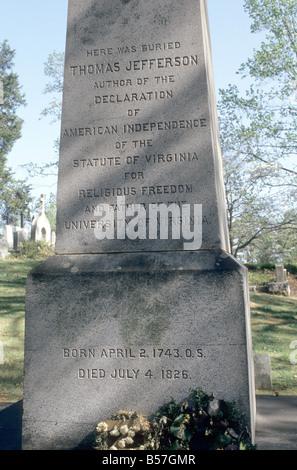 Jefferson's grave site at Monticello, Charlottesville, Virginia - Stock Photo