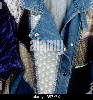 Crafts detail of patchwork denim jacket - Stock Photo
