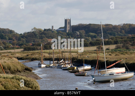 Morston Creek looking east towards Blakeney Church, North Norfolk, East Anglia. - Stock Photo