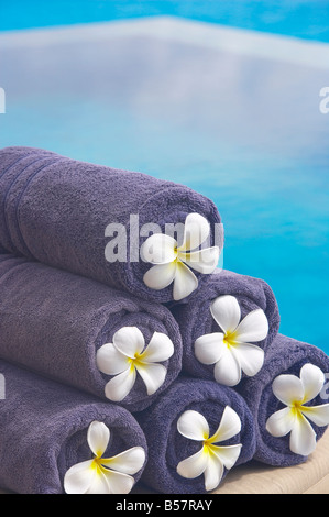 Towels on the swimming pool, Maldives, Indian Ocean, Asia - Stock Photo