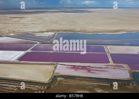 Aerial photo of sea salt pans, Swakopmund, Namibia, Africa - Stock Photo