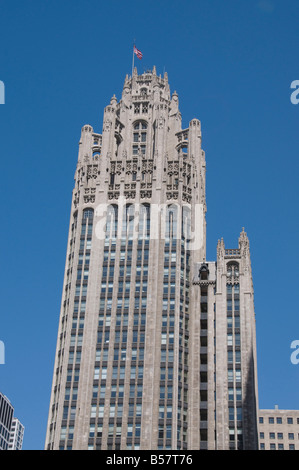 The Tribune Tower Building, Chicago, Illinois, United States of America, North America - Stock Photo
