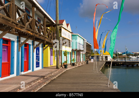 Heritage Quay shopping district in St. John's, Antigua, Leeward Islands, West Indies, Caribbean, Central America - Stock Photo